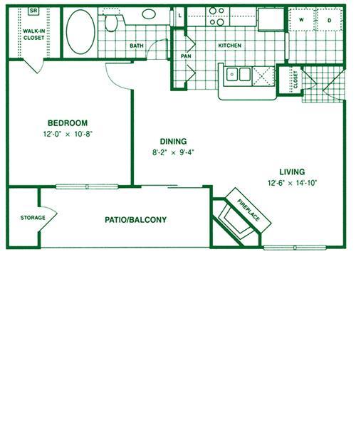 701 sq. ft. A3 floor plan