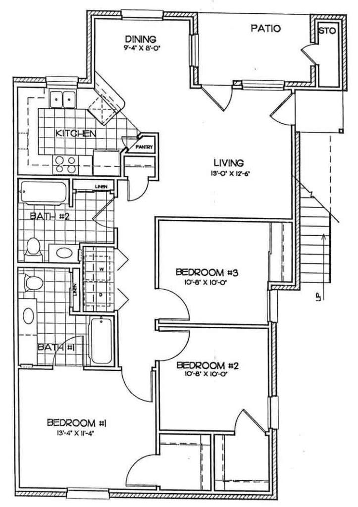 1,100 sq. ft. ASHBURY floor plan