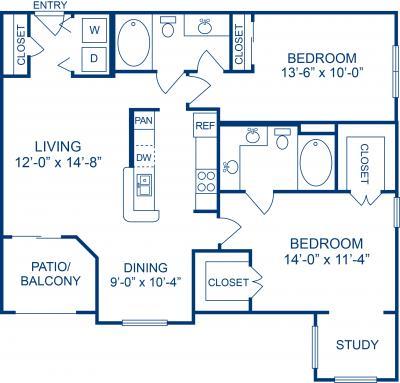 1,098 sq. ft. F floor plan