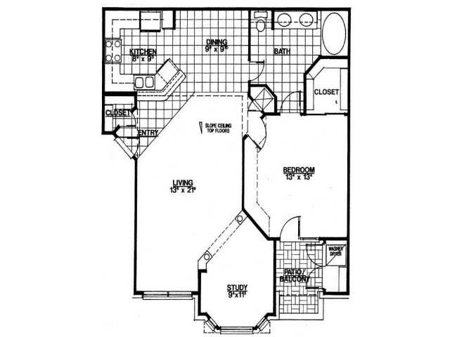 920 sq. ft. A3 floor plan