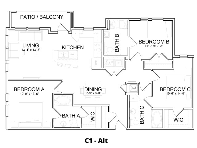 1,404 sq. ft. C1 ALT floor plan