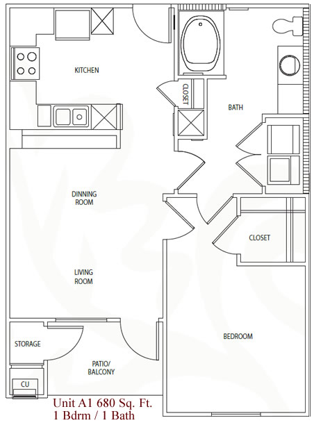 680 sq. ft. A1/60% floor plan