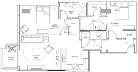 1,052 sq. ft. R floor plan