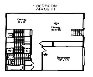 744 sq. ft. Anice floor plan