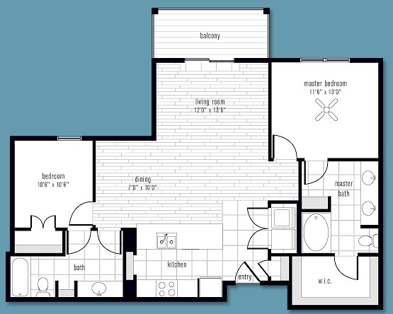 1,138 sq. ft. to 1,495 sq. ft. P floor plan