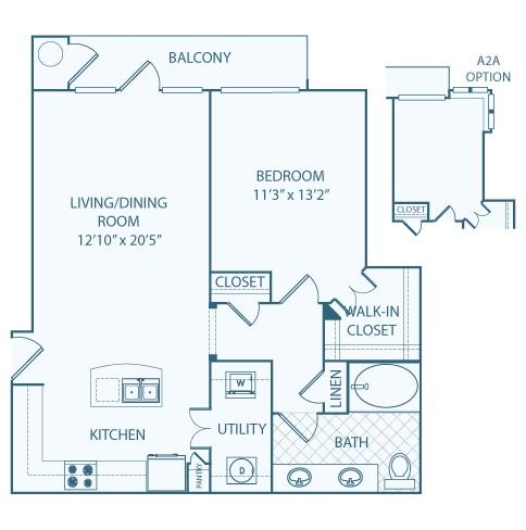 838 sq. ft. A2 floor plan