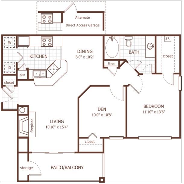 916 sq. ft. Devon floor plan