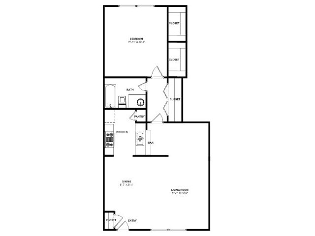 670 sq. ft. A6 floor plan