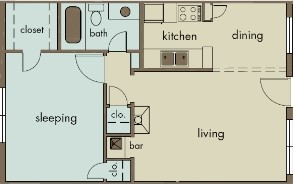 640 sq. ft. A6 floor plan