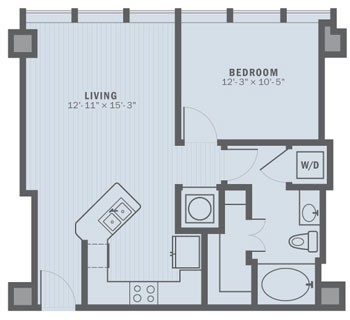 678 sq. ft. A1A floor plan