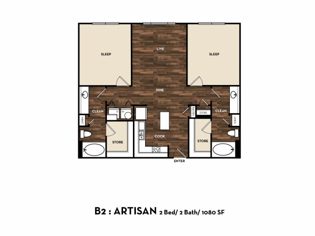 1,080 sq. ft. B2: Artisan floor plan