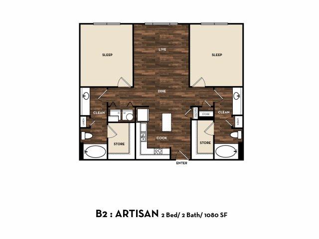 1,080 sq. ft. B2: Artisan floor plan