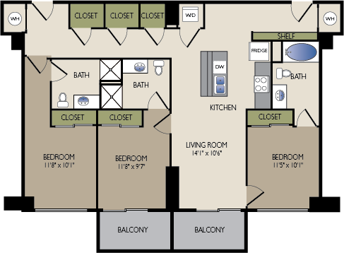 1,318 sq. ft. L1 HC floor plan