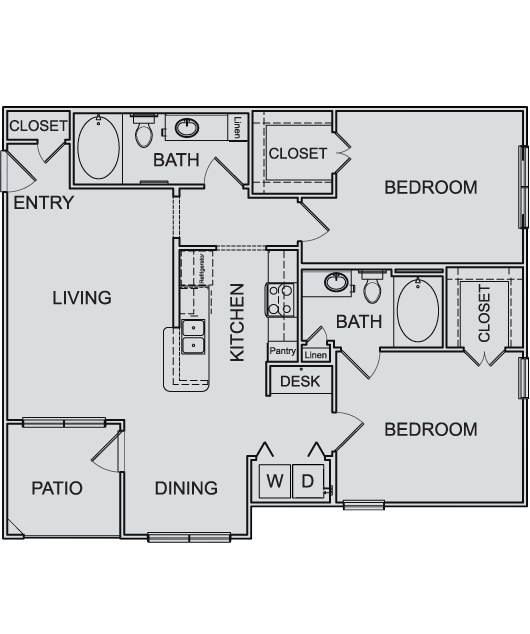 1,074 sq. ft. B1 floor plan