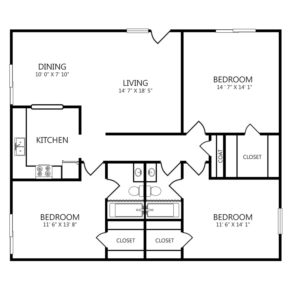 1,204 sq. ft. to 1,306 sq. ft. C1 floor plan