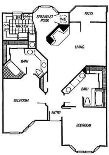 1,309 sq. ft. Versailes floor plan