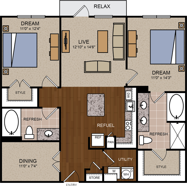1,116 sq. ft. B2 floor plan