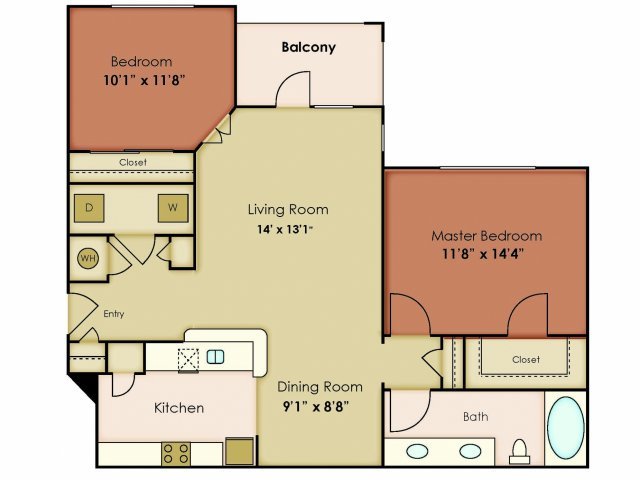 995 sq. ft. TRANQUILITY floor plan