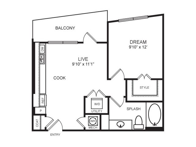 583 sq. ft. Henderson floor plan