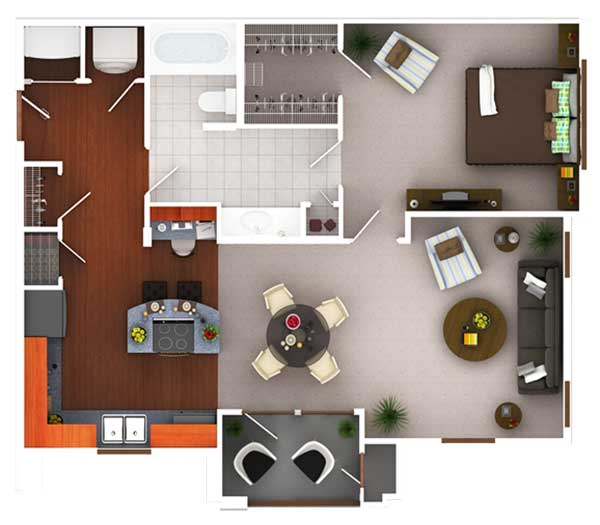 806 sq. ft. A2.1 floor plan
