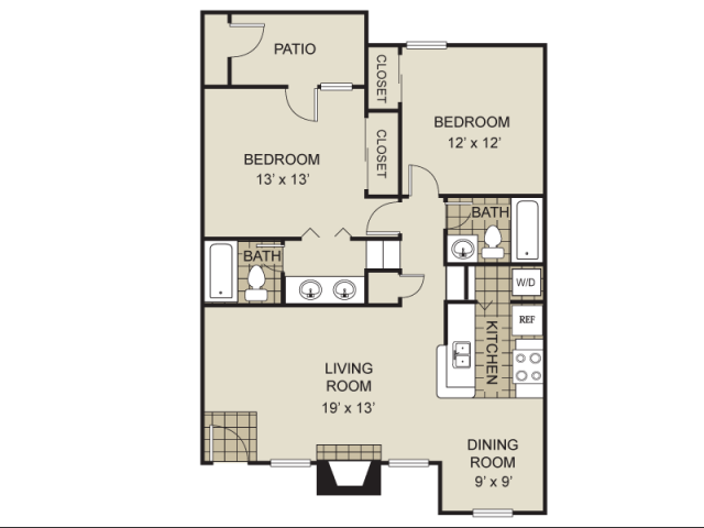 950 sq. ft. B7-C floor plan