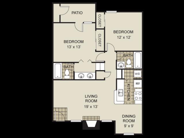 950 sq. ft. B7-C floor plan