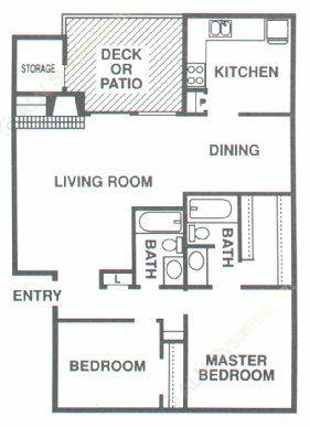 1,026 sq. ft. B1 floor plan