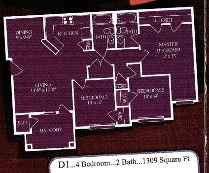1,309 sq. ft. D1/60% floor plan
