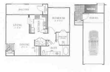 791 sq. ft. A2 floor plan