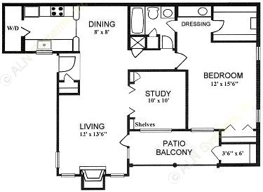 1,010 sq. ft. 1-B floor plan