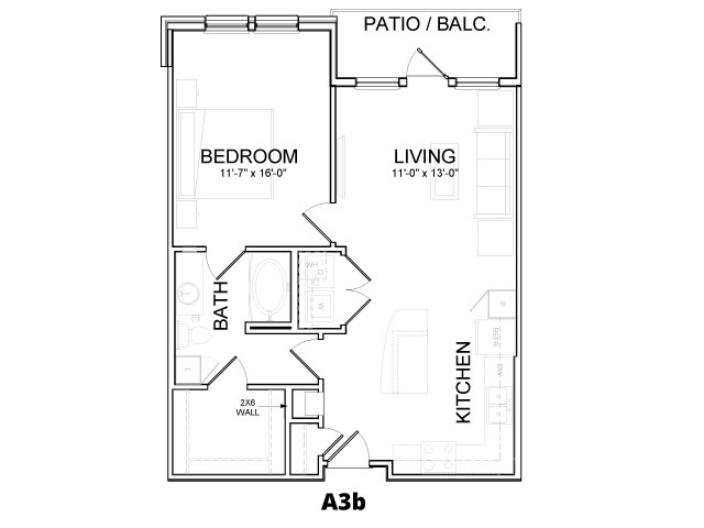 769 sq. ft. A3B floor plan