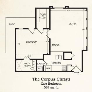 564 sq. ft. Dallas floor plan