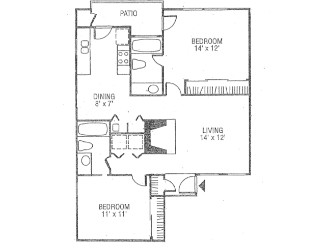 990 sq. ft. B3-B floor plan