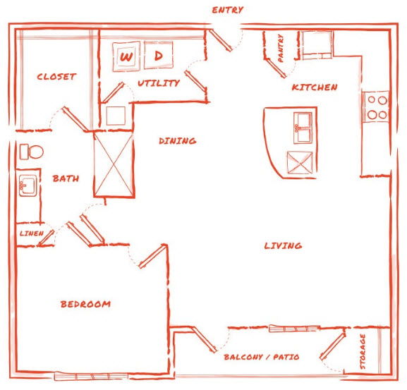 901 sq. ft. A8 floor plan