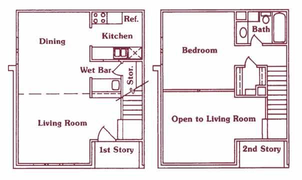 879 sq. ft. floor plan