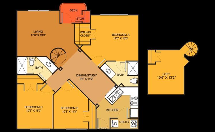 1,396 sq. ft. C4 Loft floor plan