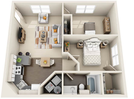 811 sq. ft. 2x1A floor plan