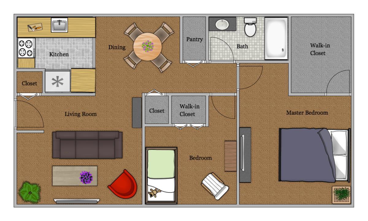 870 sq. ft. floor plan