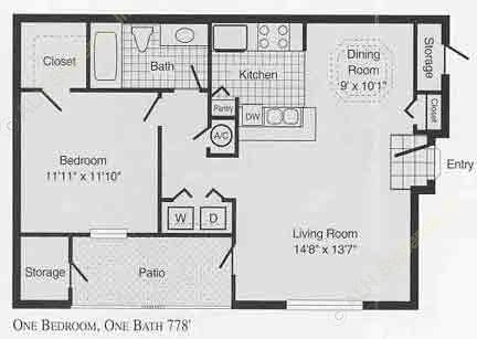 670 sq. ft. to 778 sq. ft. A floor plan