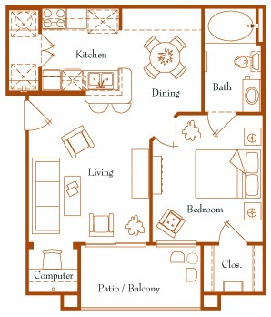 654 sq. ft. Electra 11A floor plan