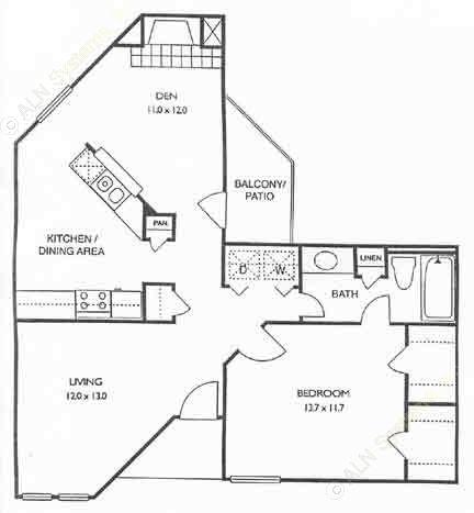 830 sq. ft. Lancaster floor plan