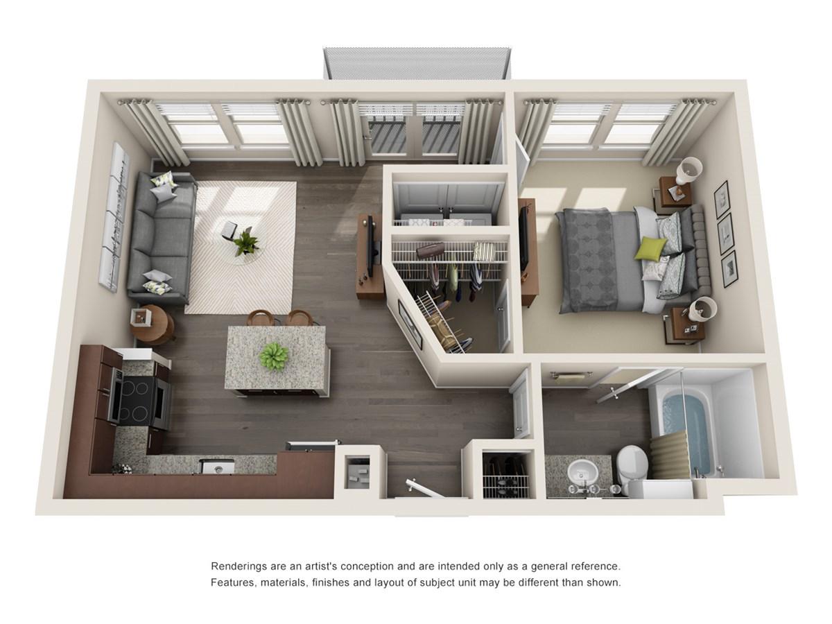631 sq. ft. A2 floor plan