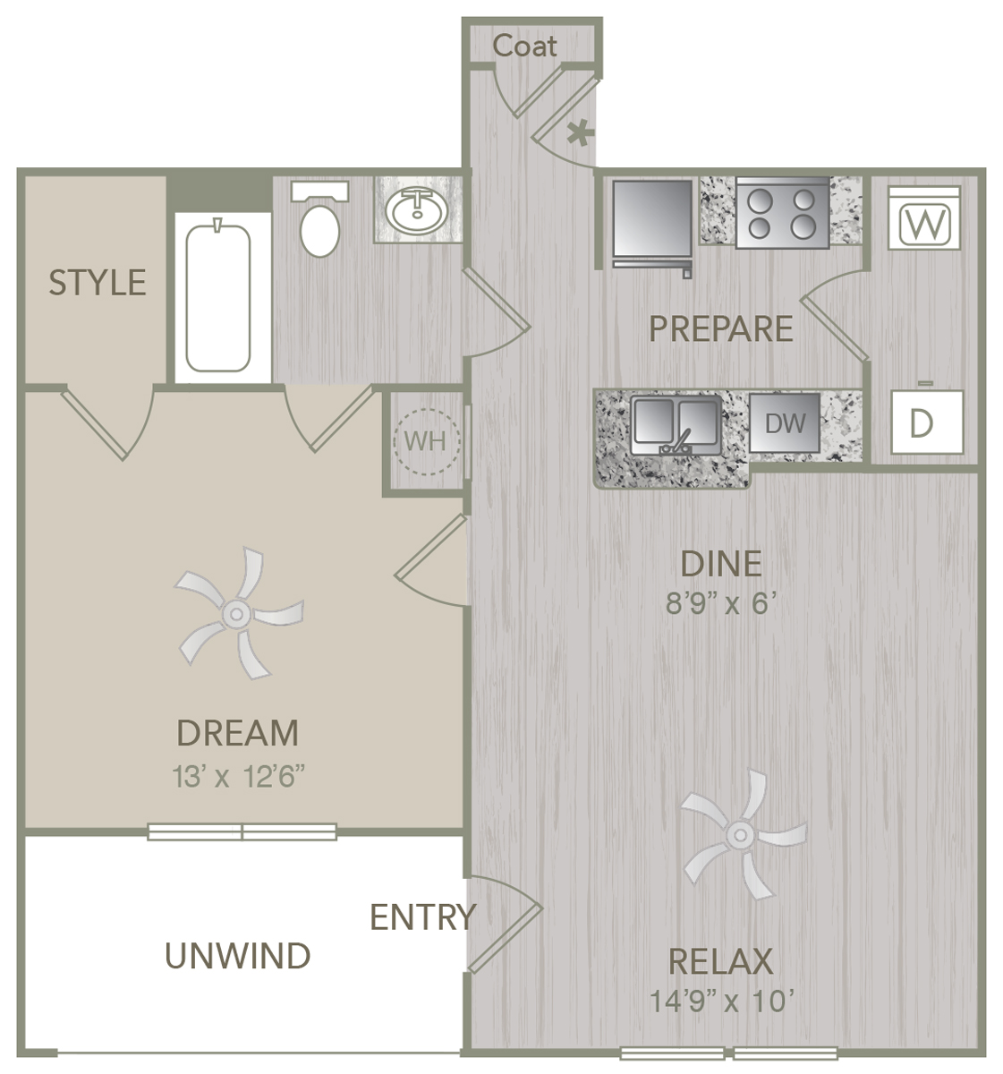 695 sq. ft. A1L floor plan