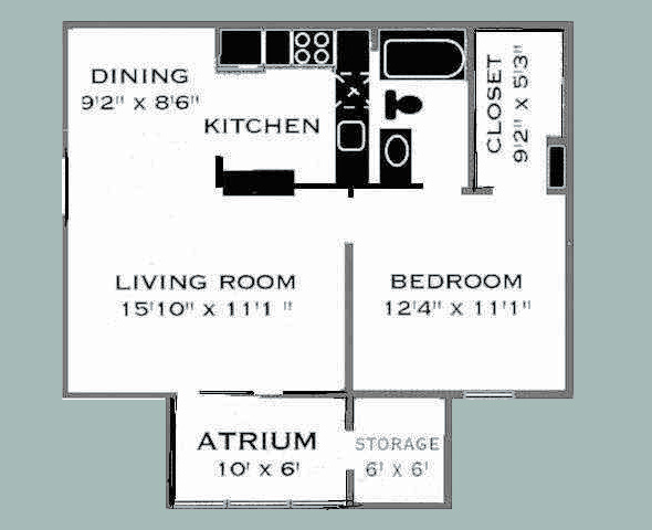 667 sq. ft. B/COPPERCREST floor plan