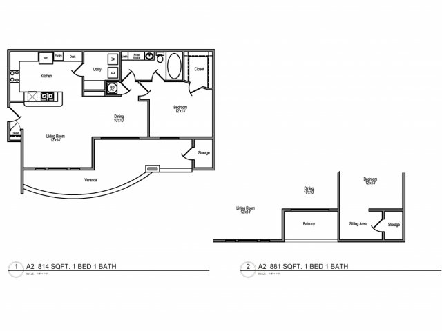 881 sq. ft. B3,2 floor plan