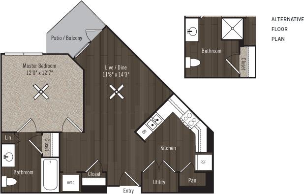 675 sq. ft. A1/Soar/60% floor plan