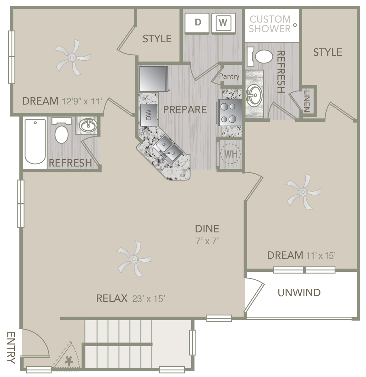 1,277 sq. ft. B1UAL floor plan