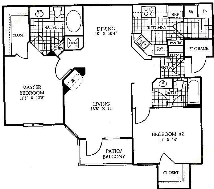 1,094 sq. ft. B2 floor plan