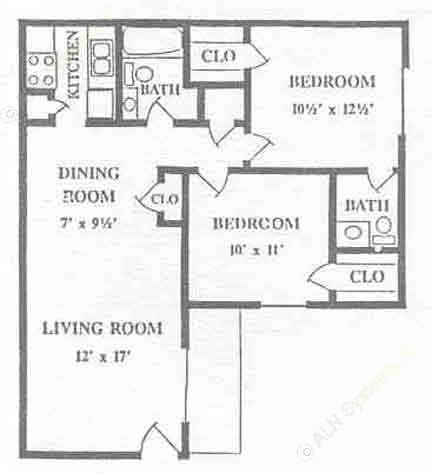 880 sq. ft. floor plan