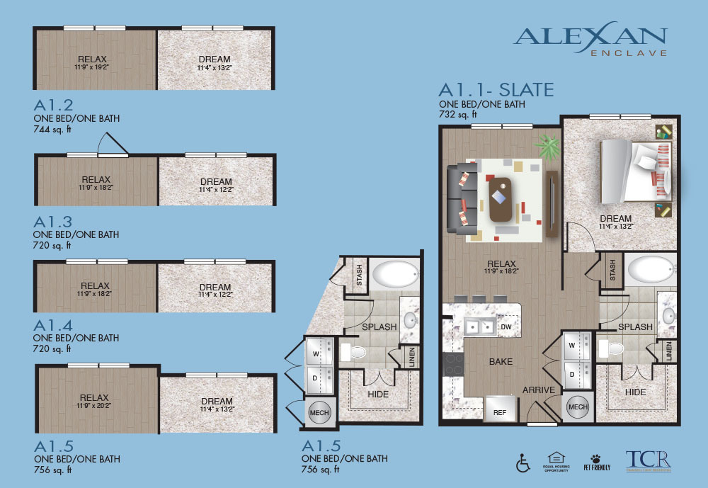739 sq. ft. A1.2FW floor plan